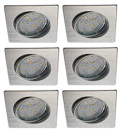 Trango 6er Conjunto de focos empotrables LED Focos de techo empotrados Plafones TG6729-069S-