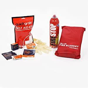 Home Safety Fire Kit Fire Extinguisher + 1st Aid Kit + Fire Blanket