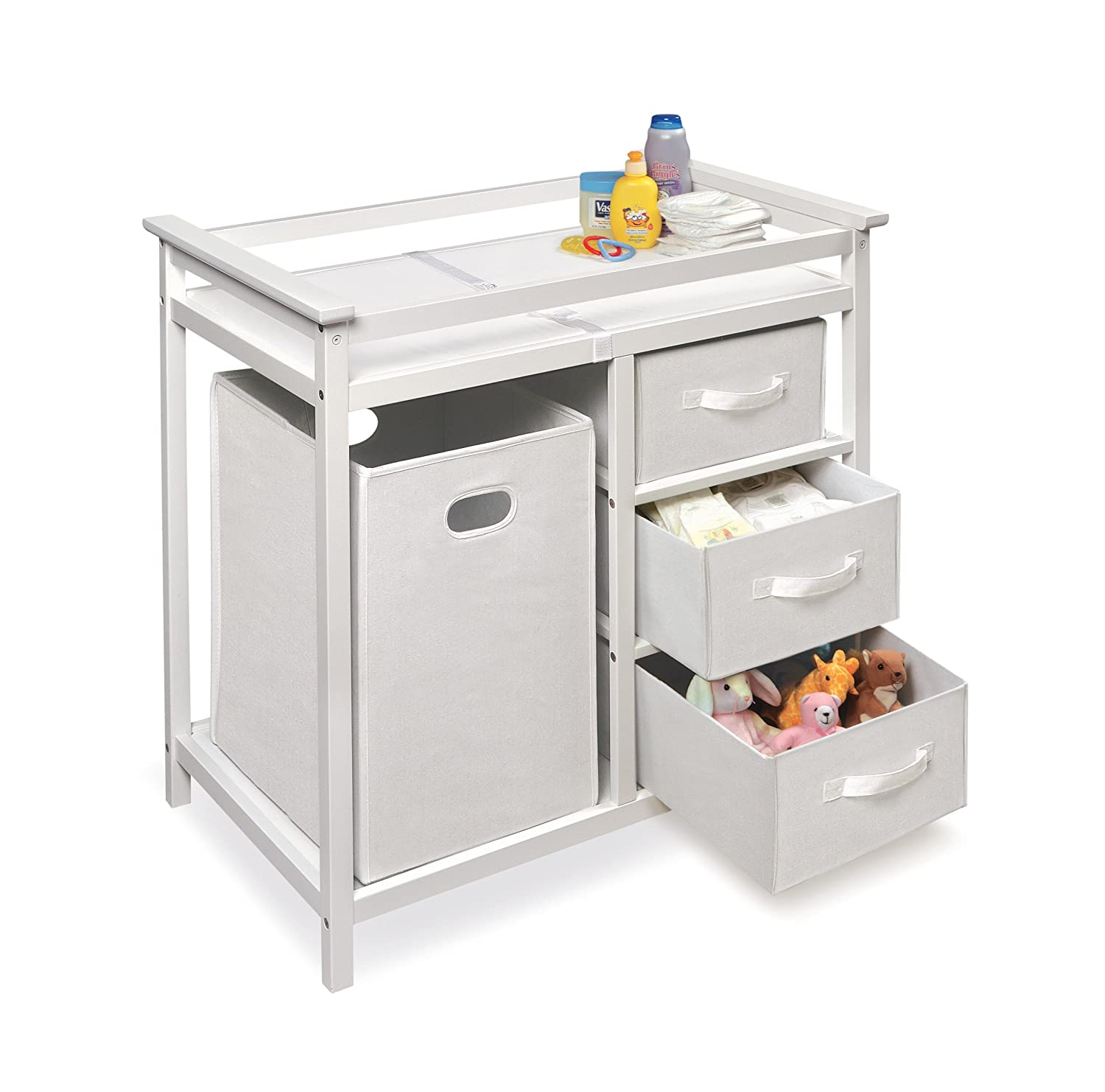 Amazon.com : Badger Basket Modern Changing Table With 3 Baskets And Hamper,  White : Baby