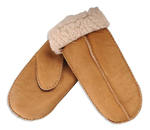Nordvek - Mitones para mujer - 100% piel de oveja auténtica - # 315-100 - Marrón claro - One Size