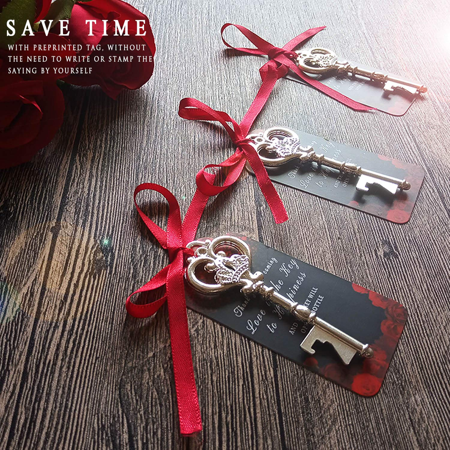 Bridal Shower Party Favors Souvenir Wedding Favors for Guests Red Ribbon Thank You for Coming Escort Card Bulk 25 Silver Key Bottle Opener Wedding Favor with Tag Vintage Skeleton Key Bottle Opener
