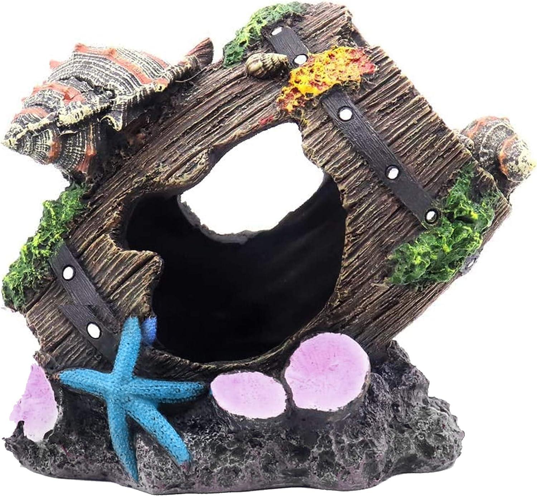 Aquarium Decorations - Shell Broken Barrel Resin Aquarium Ornament Fish Tank Hideaway Cave House for Betta, Small Lizards, Turtles, Reptiles, Amphibians