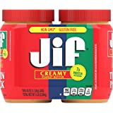 Jif Creamy Peanut Butter Twin Pack, 2-40 Ounces, 7g (7% DV) of Protein per Serving, Smooth, Creamy Texture, No Stir…