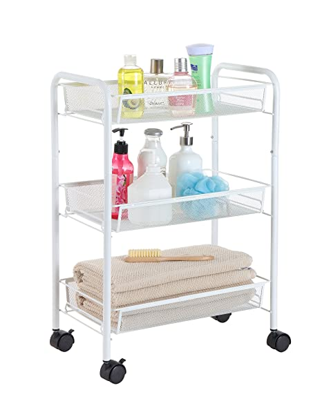 Attirant Finnhomy Utility Cart Mesh Office Suppliers Rolling Storage Cart With 3  Baskets Laundry Cart Space Saver