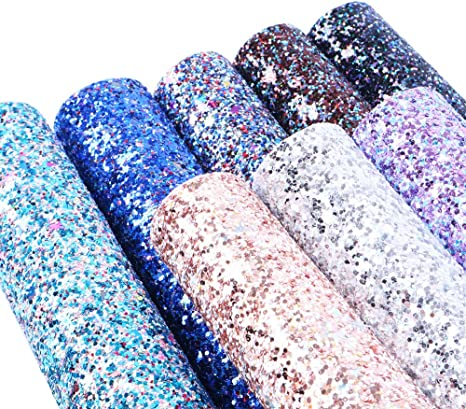 20 cm x 34 cm Chunky Glitter Assorted Colors for DIY Projects David accessories Super Shiny Chunky Glitter Stereoscopic Sequins Faux Leather Sheets Synthetic Leather Fabric 8 Pcs 8 x 13