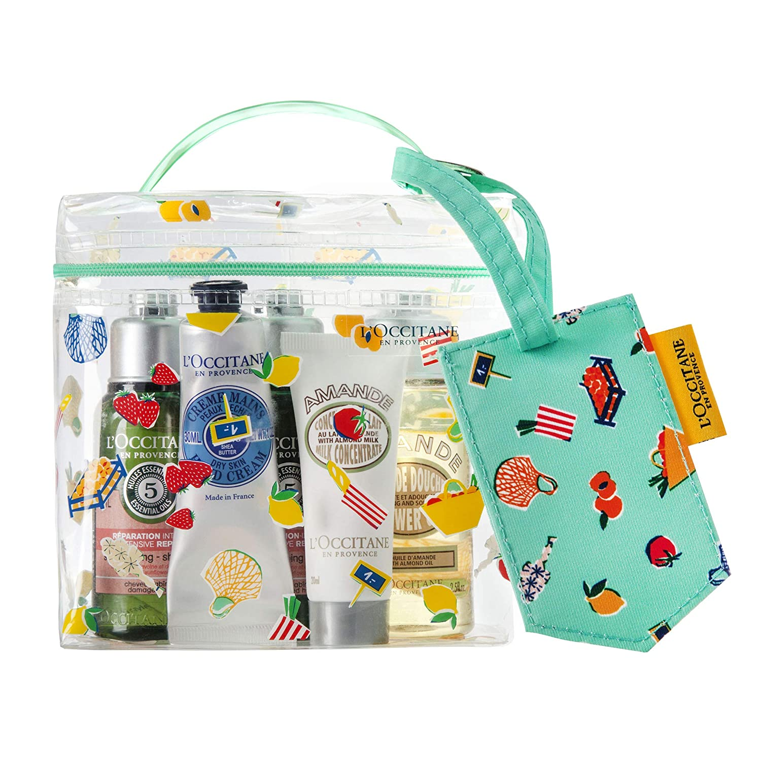 LOccitane 5-Piece Travel Beauty Favorites Kit of Shampoo  Conditioner  Shower Oil  Lotion  Hand Cream with Luggage Tag and Vanity