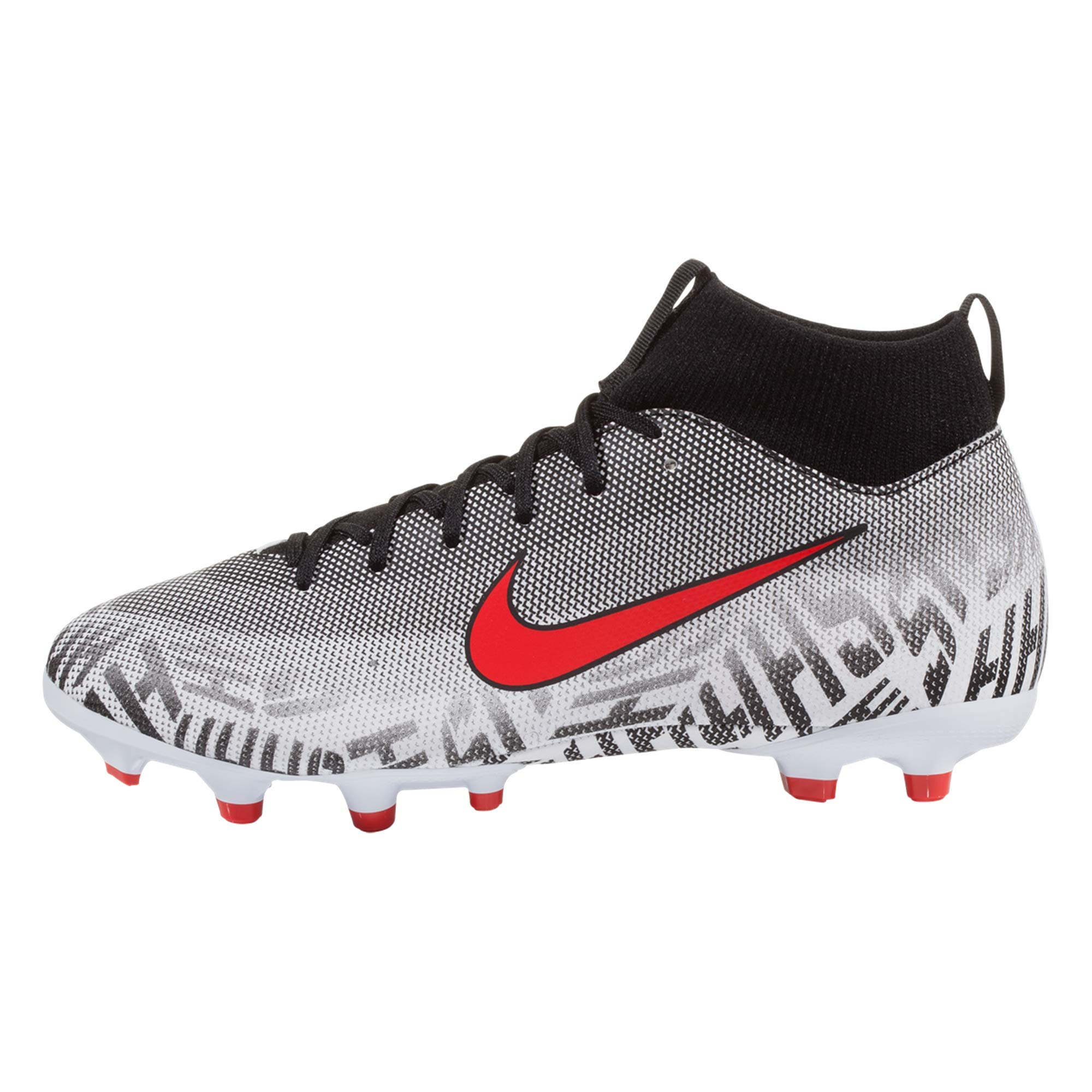 Nike Youth Superfly 6 Academy NJR FG/MG Soccer Cleats-White/Challenge Red/Black (5.5Y)