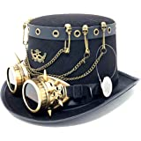 Storm buy ] Steampunk Top Hat Mad Scientist Time Traveler Feather Halloween Costume Cosplay Party with Goggles