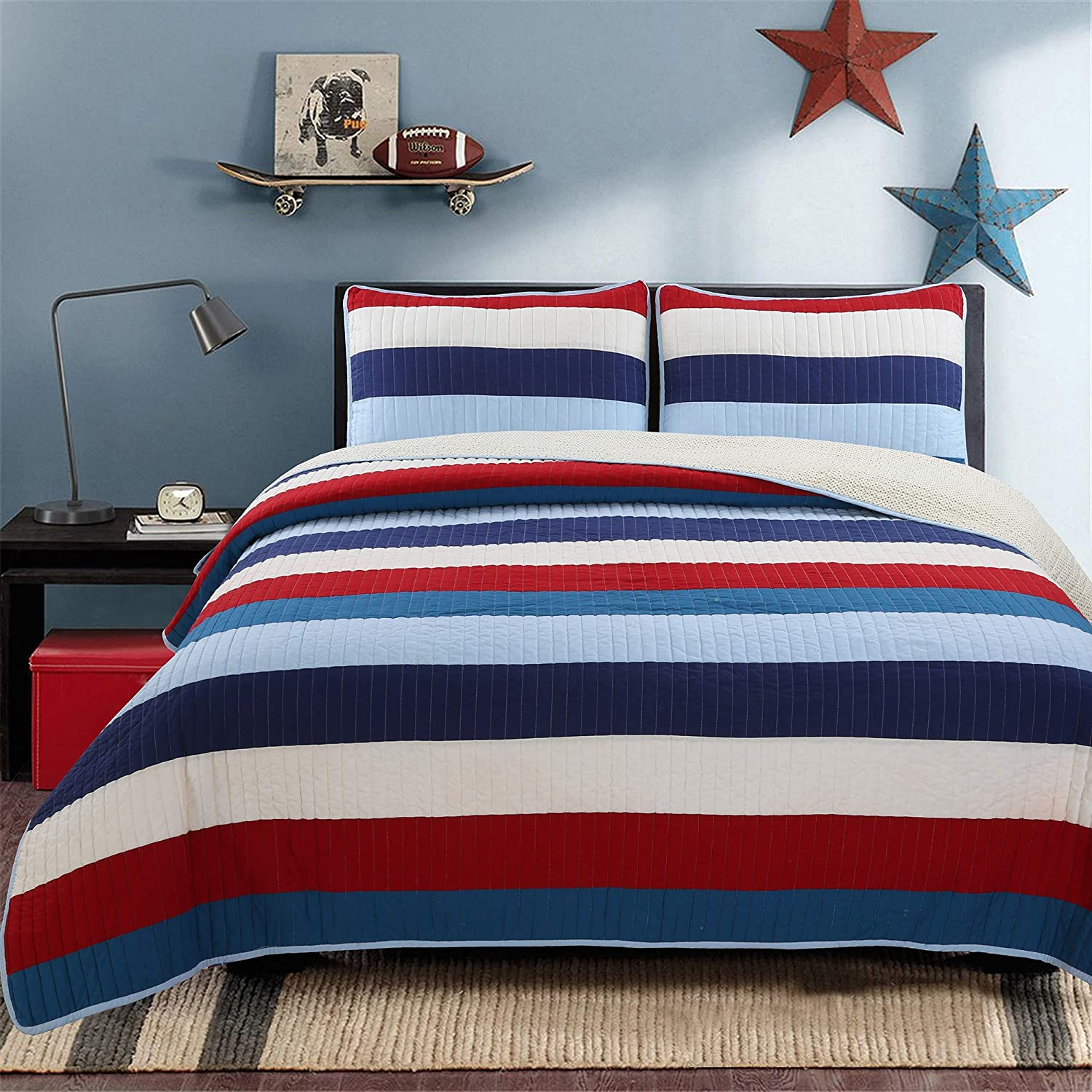Cozy Line Home Fashions Aaron Bedding Quilt Set, Nautical Navy Blue Red Off-White Striped Printed 100% Cotton Reversible Coverlet Bedspread Bedding Set (National Stripe, Twin - 2 Piece)