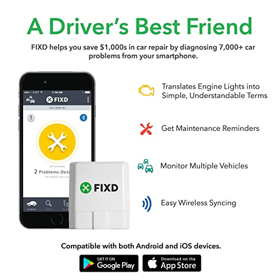 FIXD OBD2 Professional Bluetooth Scan Tool and Code Reader for iPhone and  Android