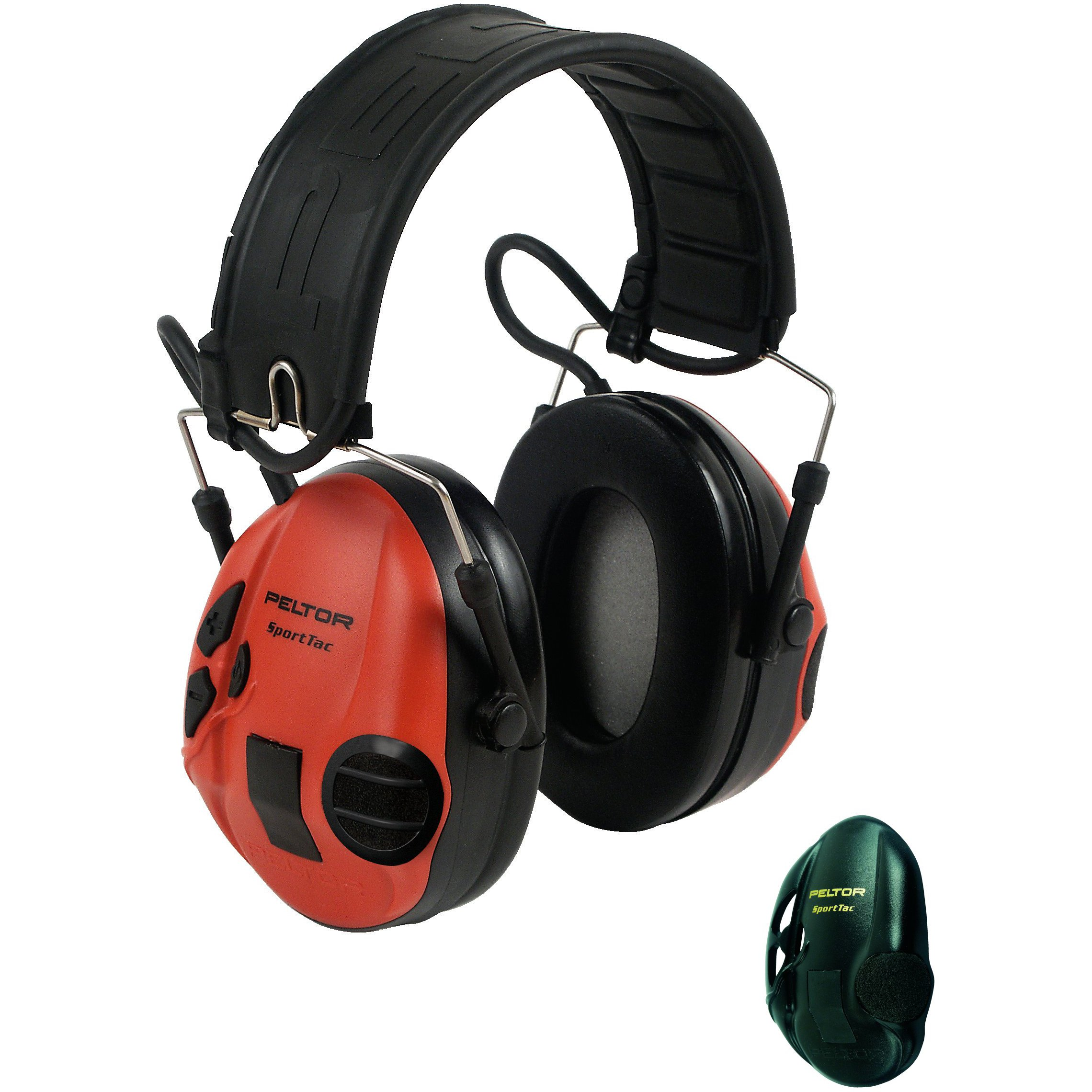 3M Peltor SportTac Electronic Shooting Hunting Eardefender with Red and Black Interchangeable Earshells