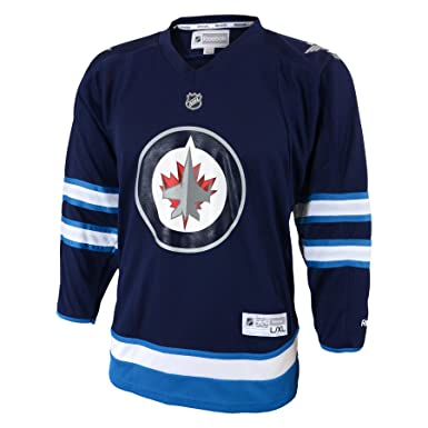check out 24ed9 3a3f9 NHL Winnipeg Jets Replica Youth Jersey, Navy, Small/Medium ...