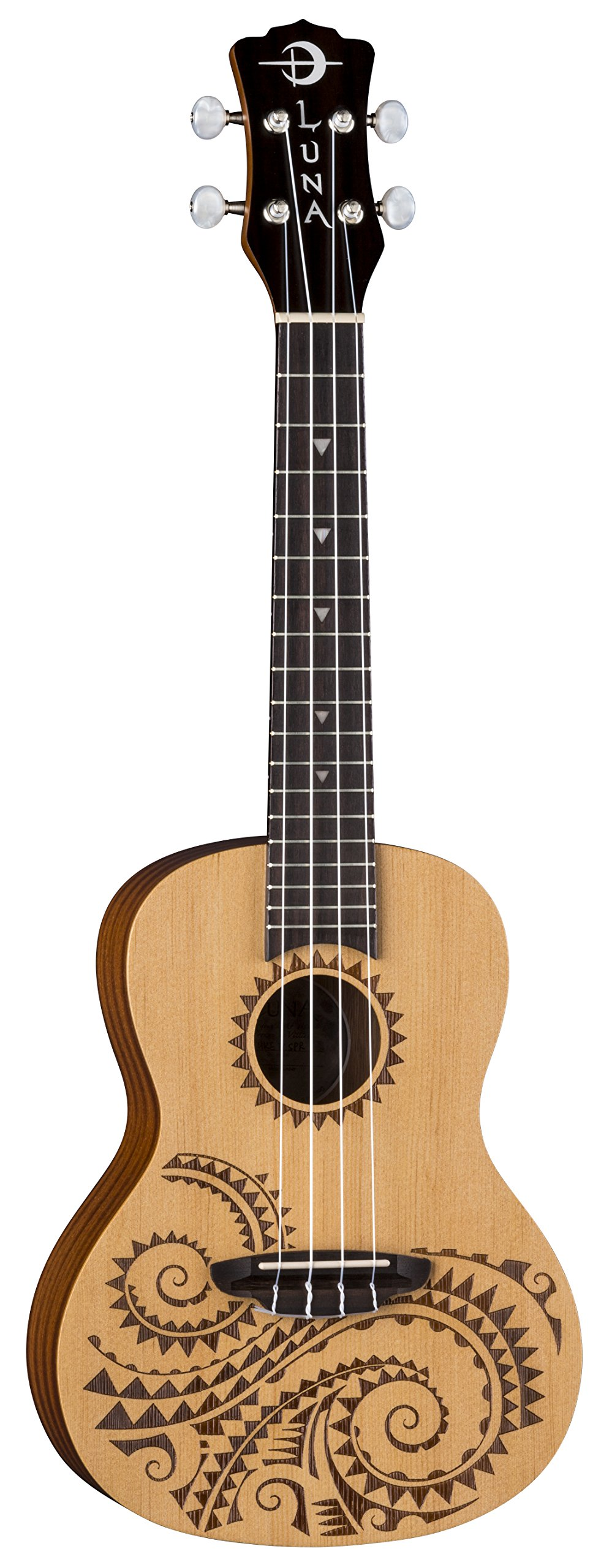 Luna Guitars UKETCSPR Tattoo Concert Spruce Ukulele w/Gig Bag