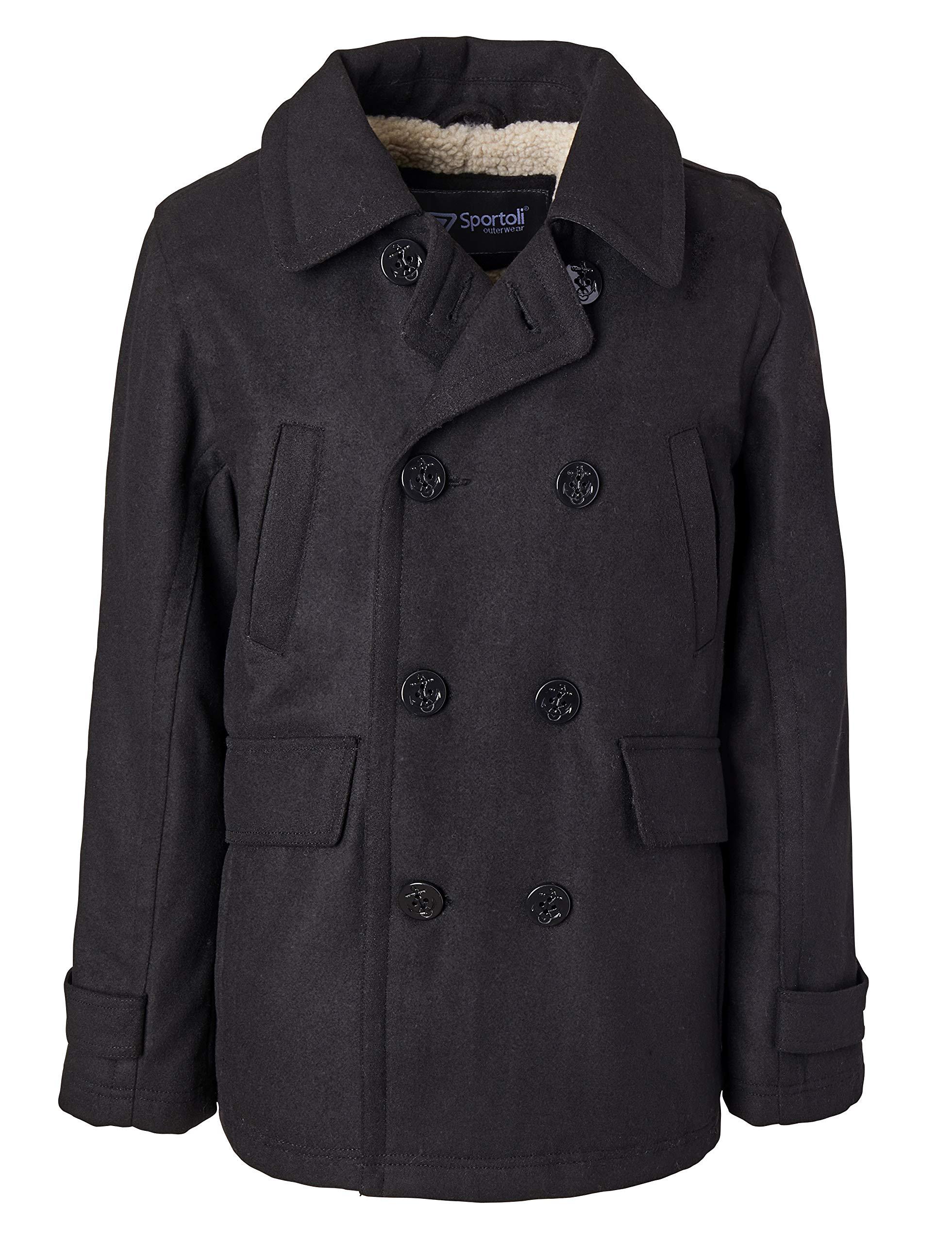 Sportoli Boy Classic Wool Blend Sherpa Winter Dress Pea Coat Peacoat Jacket - Black (Size 18/20)