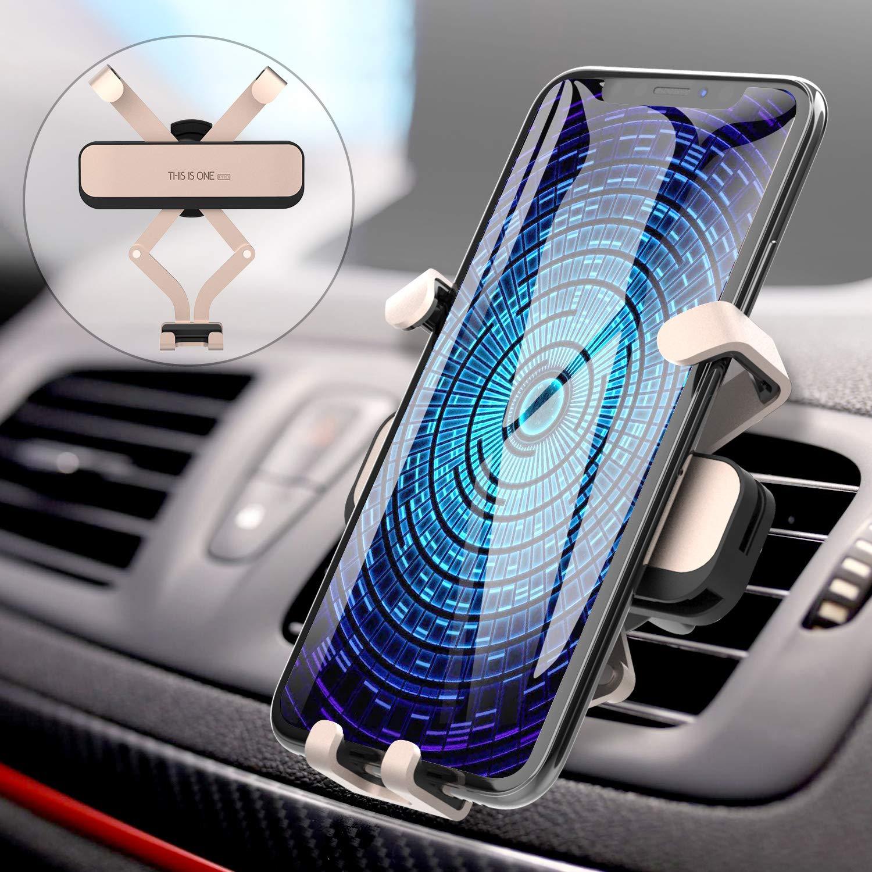 AUCHIKU Handyhalterung Auto,Handy Halterung Schwerkraft Lüftung Handyhalter fürs Auto Kratzschutz Auto Halterung Universale KFZ Halterung für 4,0-6,5-Zoll-Handys(Gold)