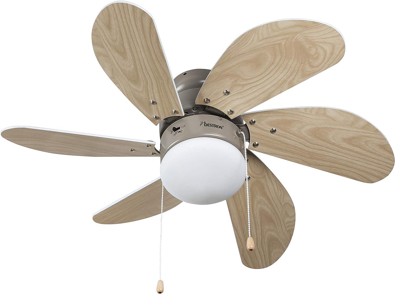Bestron Ventilador de Techo con lámpara, 75 cm, 50 W, Arce/Blanco ...