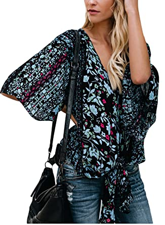 ba956e7b3873ec LOSRLY Women V Neck Floral Printed Front Tie Tops Casual Blouses Black Small