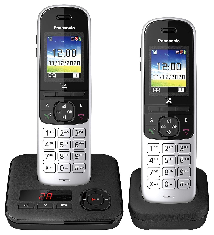 Babyphone und Eco Plus Modus Panasonic Schnurlostelefon KX-TGH710GG mit Farbdisplay