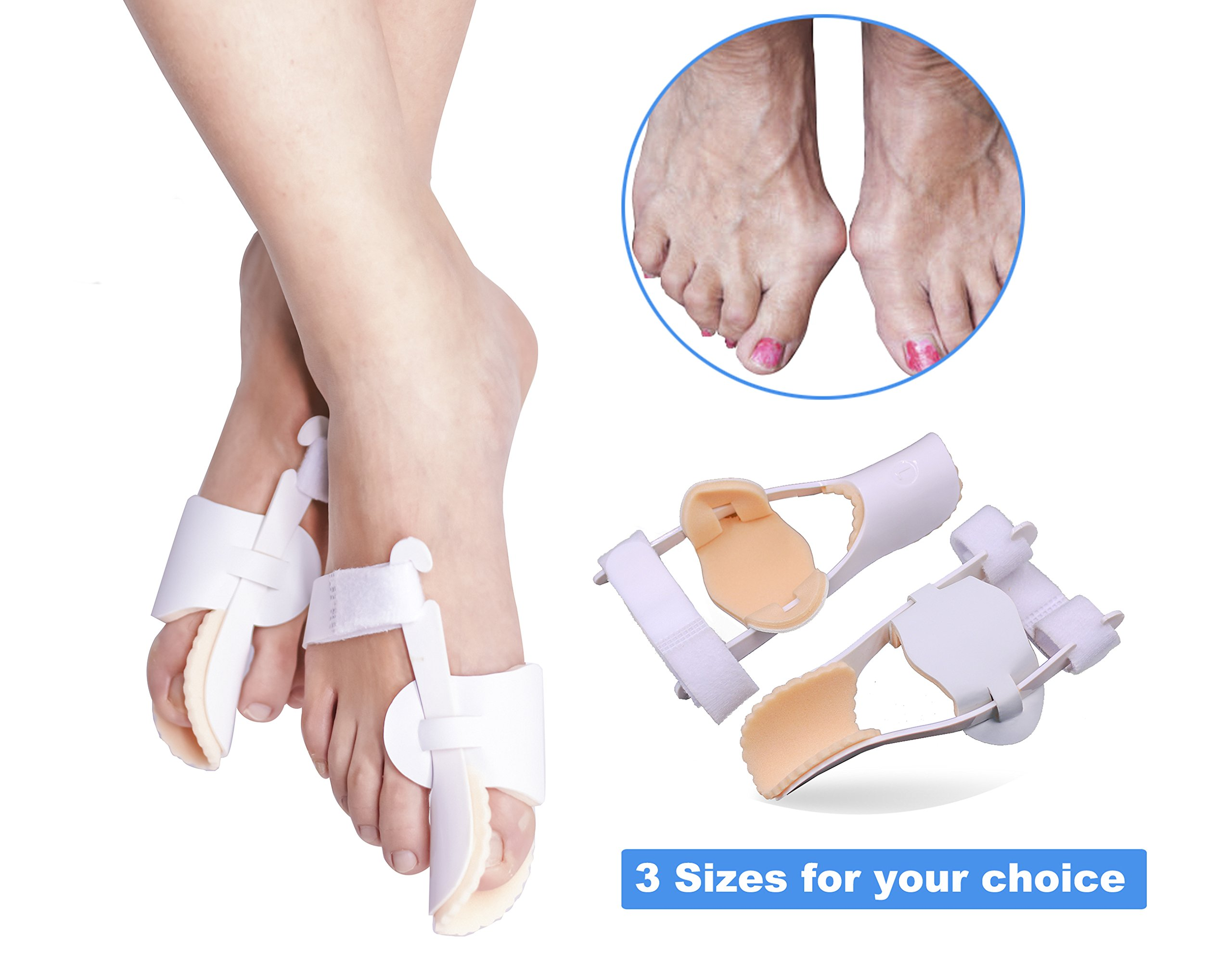 3 Sizes Bunion Corrector, Hallux Valgus Bunion Brace Splint Pads for Foot Bunion Relieve Relief Aid Surgery Treatment Toe Separators Straighteners by ERGOfoot [M]