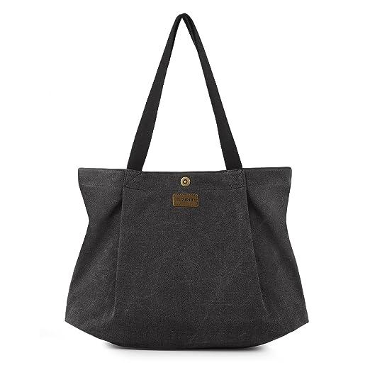 40 opinioni per SMRITI Borsa Tote a tracolla in tela di cotone Shopping Bag- Nera