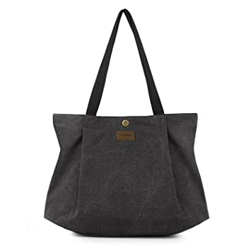 a81c5fec0 SMRITI Canvas Tote Bag for School Work Travel and Shopping - Black ...