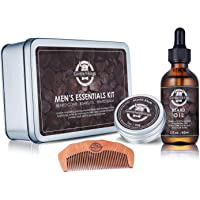 Gentle Vikings Beard Grooming Kit with Beard Oil, Beard Balm, and Wooden Comb