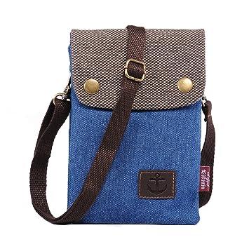 20f0c7c25c41 Canvas Mini Universal Cell Phone Bag Pouch Purse Money Organiser Bag Small  Women Crossbody Shoulder Bag Ladies Clutch Handbags with Wrist Strap + ...