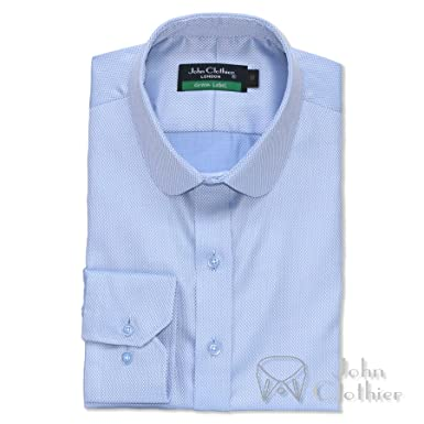 Penny collar shirt Sky Blue Diamond Banker style for Men Round Club collar Gents AZW1L