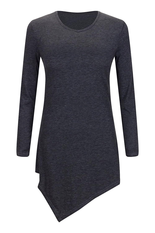 Bewish Women Asymmetrical Handkerchief Hem Long Sleeve Scoop Neck Tunic Top Blouse