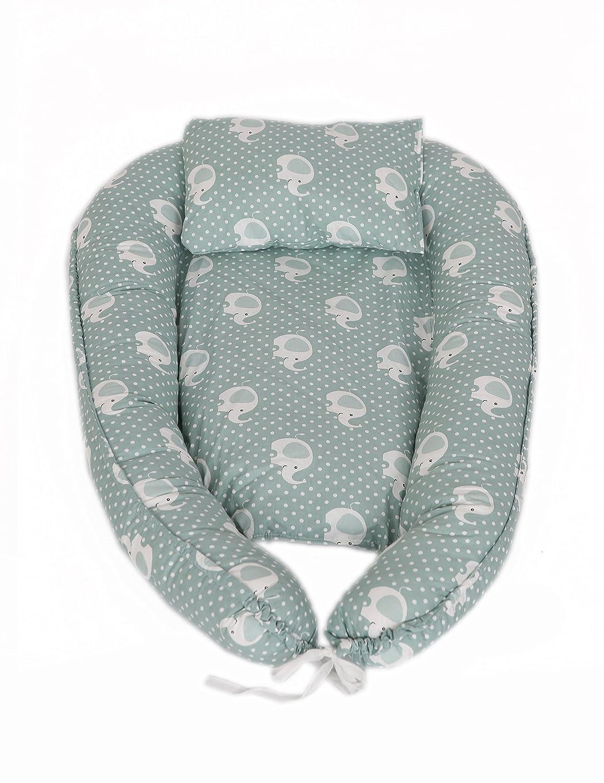 MyHoppi Babynest Coussin d'allaitement pour bébé et bébé, coussin d'allaitement, lit de voyage, matelas à langer multifonction pour bébé, tour de lit 100% coton (80 x 45 cm) coussin d' allaitement