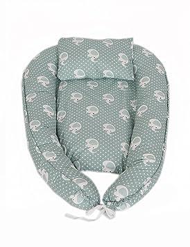 MyHoppi Baby Nest, cuna de viaje, cambiador, manta multifuncional Nido para bebés y lactantes, Baby de nido Cuna 100% algodón (80 x 45 cm) marrón ...