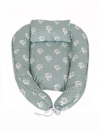 Elefant-Gr/ün Babynestchen Bettumrandung 80x45cm Reisebett MyHoppi Babynest das Multifunktionale Kuschelnest f/ür Babys und S/äuglinge 100/% Baumwolle Wickelauflage