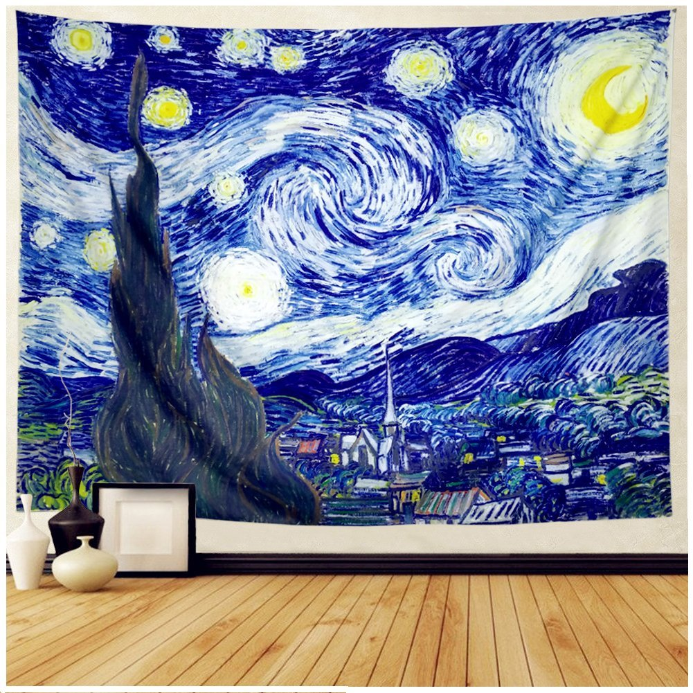 Starry Night Tapestry Wall Tapestry Wall Hanging Hippie Galaxy Tapestry Mandala Bohemian Tapestry Watercolor Oil Painting Tapestry Wall Decor for Living Room Bedroom