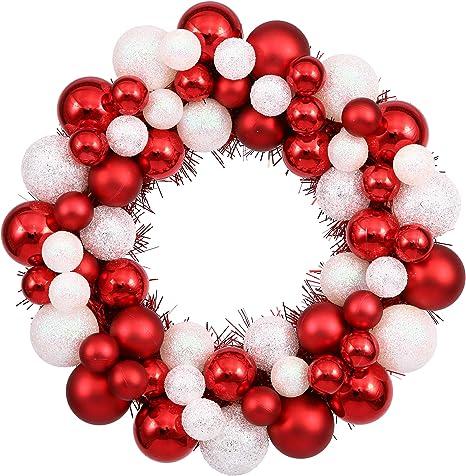 Amazon Com Vickerman 12 Candy Cane Ball Wreath Home Kitchen