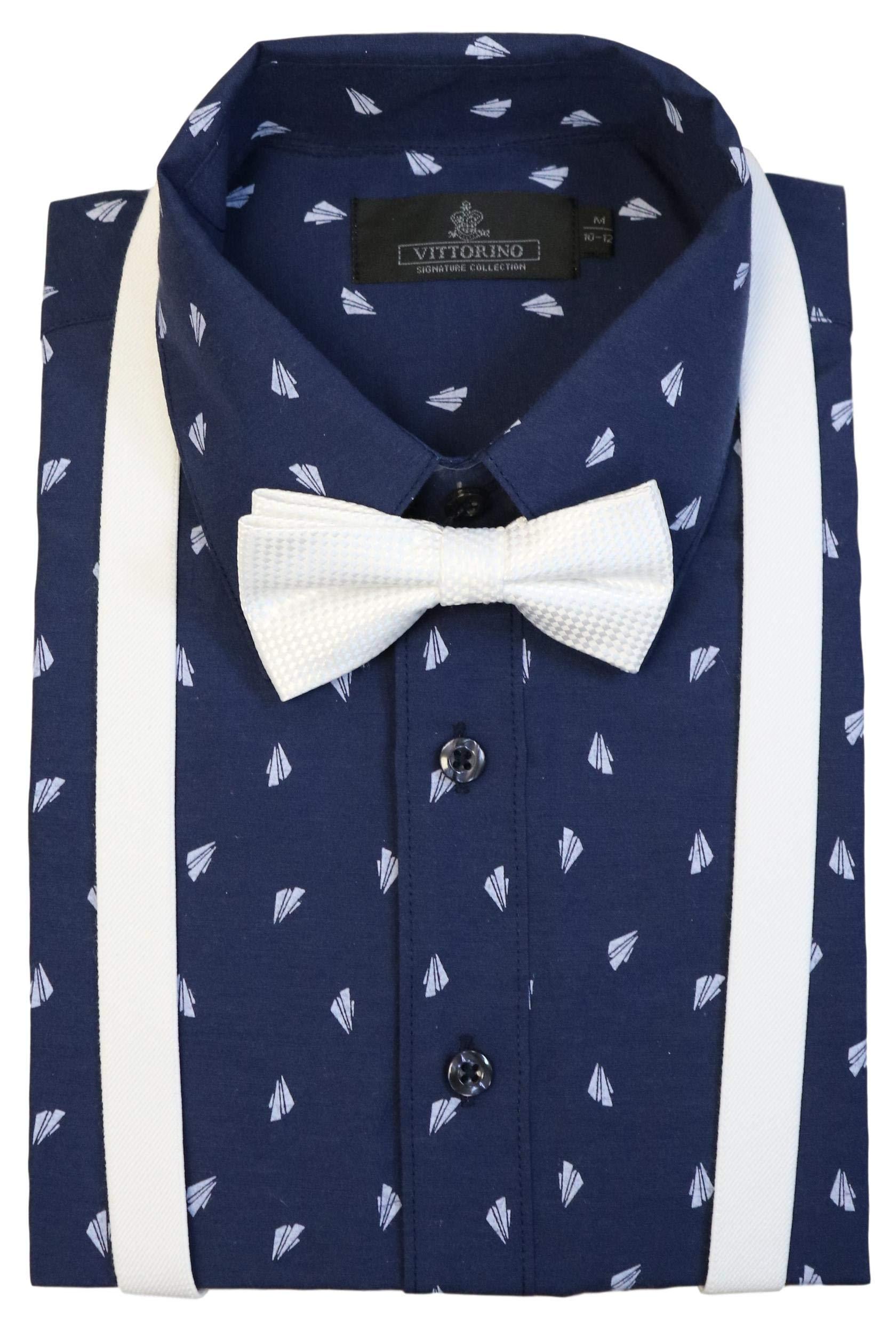 Vittorino Boys' Dress Shirt with Matching Bowtie and Suspenders Set, Navy White, 14/16