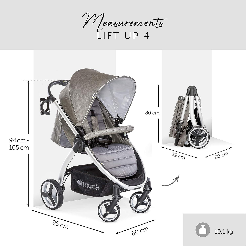 Hauck Lift Up 4 - Silla de paseo con asiento amplio, ligera, chasis aluminio, plegado libro con una mano, desde nacimiento hasta 25 kg, manillar ...