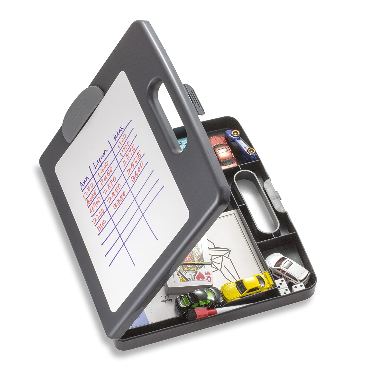Officemate Clipboard Box for Activities with Dry Erase Board, Letter/A4 Size, Charcoal (83383) Officemate International
