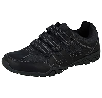 debd23b1f523b Cushion Walk Mens LS14 Black Faux Leather Touch Close Lightweight Trainers  Size 7-12 (