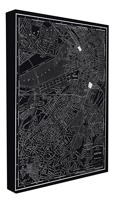 Amazon.com: Stupell Home Décor Boston 1985 Vintage Map Oversized ...