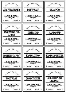 36 Pieces Waterproof Bottle Label Stickers Farmhouse Label Soap Dispenser Stickers for Kitchen Bathroom, 3.15 x 2.95 Inch