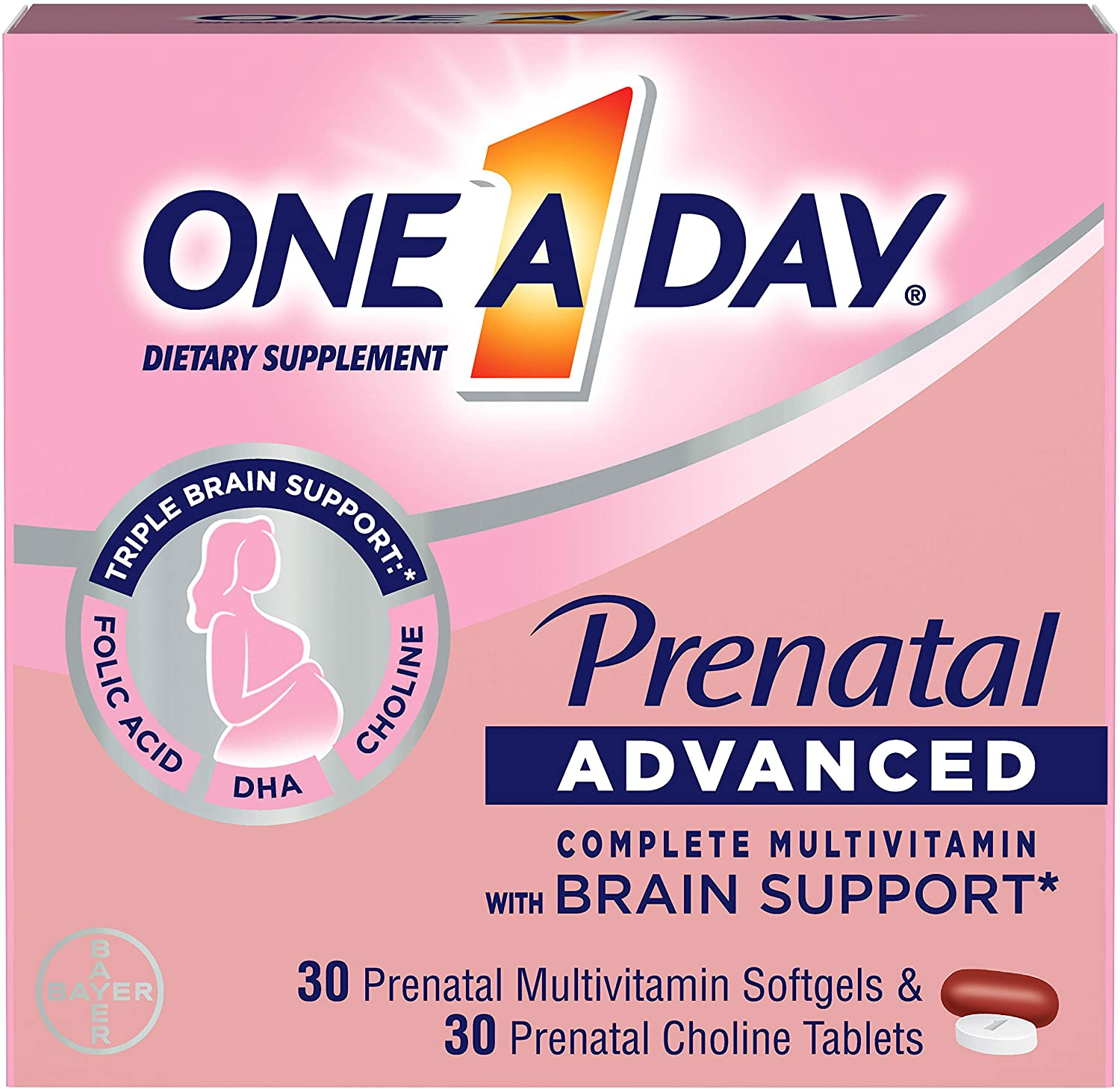 One A Day Women's Prenatal Advanced Complete Multivitamin with Brain Support* with Choline, Folic Acid, Omega-3 DHA & Iron for Pre, During and Post Pregnancy, 30+30 Count