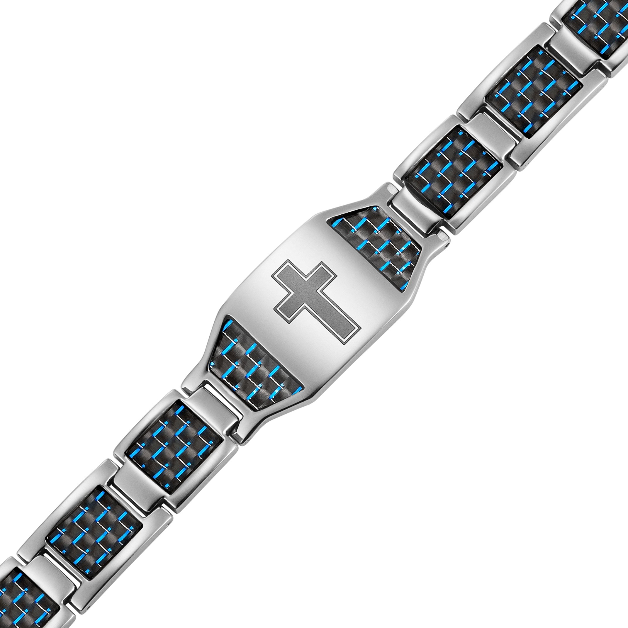 Men's Christian Cross Titanium Magnetic Bracelet with Blue Carbon Fiber by Willis Judd by Willis Judd (Image #2)