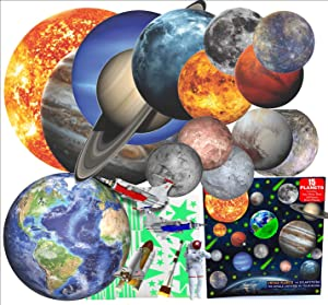Glow in The Dark Stars and Planets for Ceiling 3D Realistic Solar System Wall Stickers, All Glowing Planets Dwarf Pluto, Birthday Christmas Gift Bonus Over 200 Stars Shooting Stars