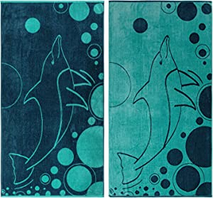 SUPERIOR 100% Cotton Mystic Dolphin (Set of 2) Oversized Beach Towel - Teal