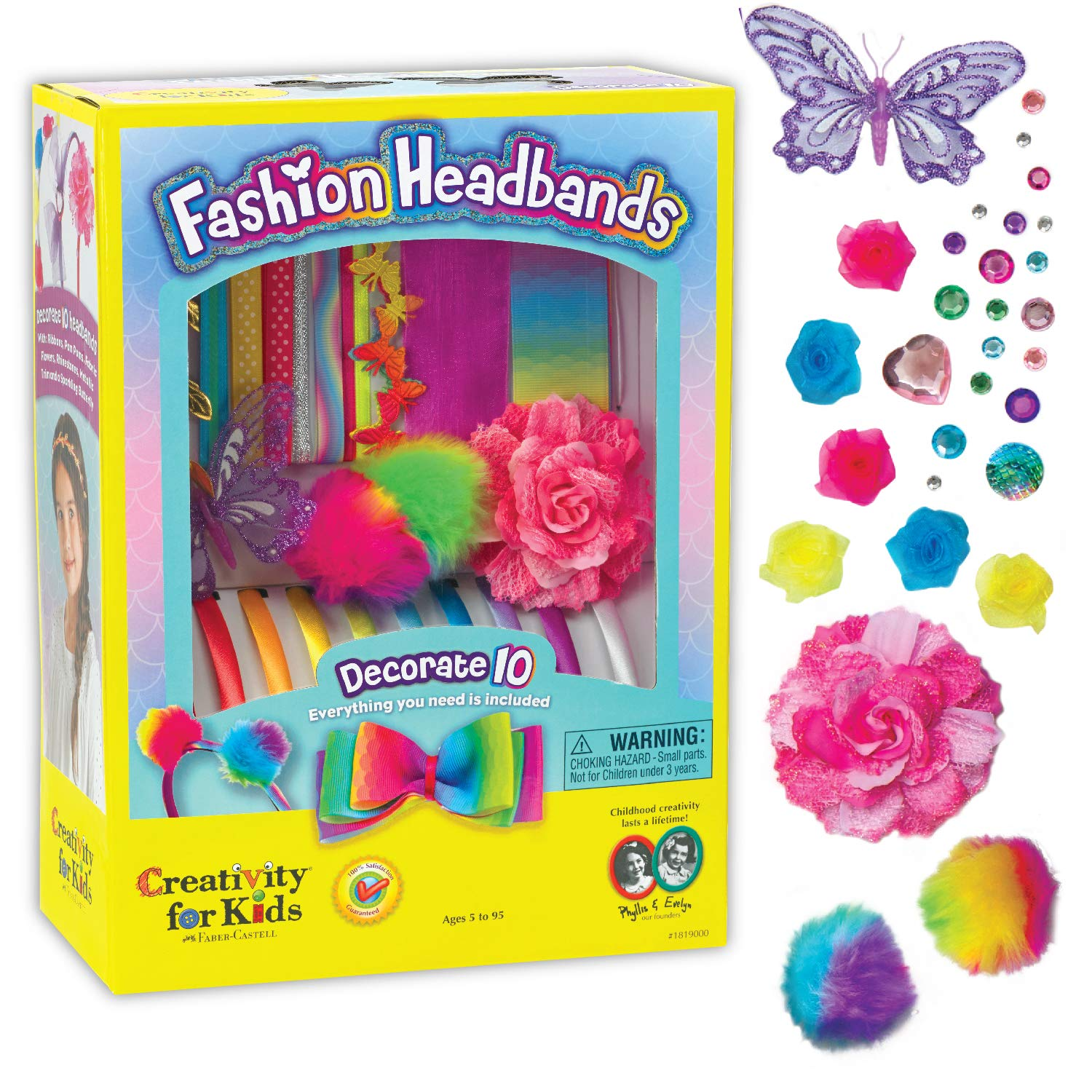 Creativity for Kids Fashion Headbands Craft Kit, Makes 10 Unique Hair Accessories (Packaging May Vary)