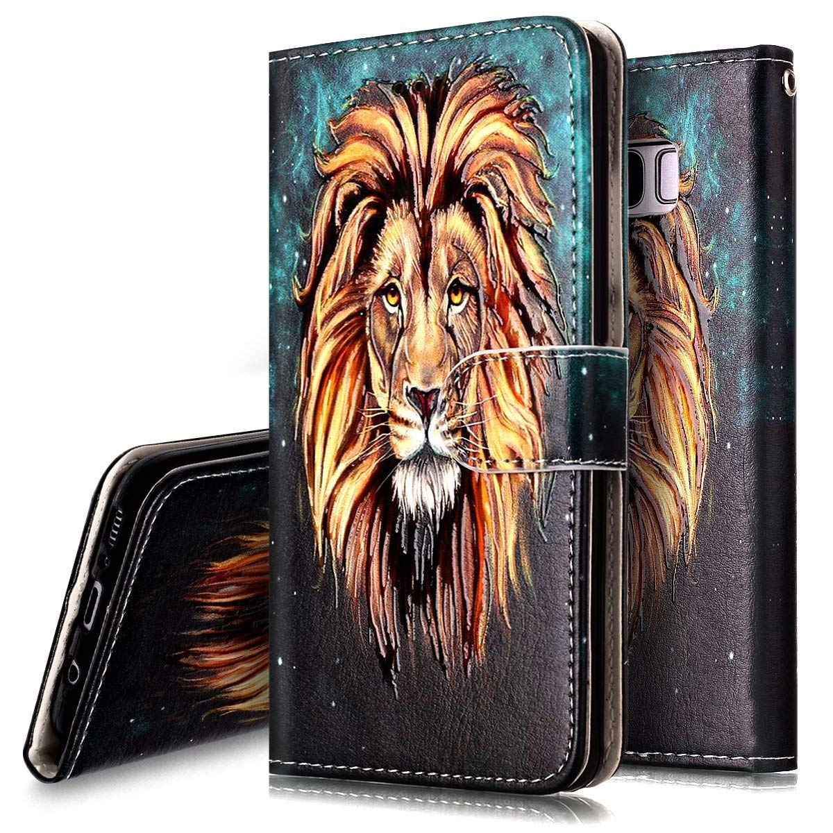PHEZEN Case for Samsung Galaxy S10 Wallet Case,Retro Art Paint PU Leather Bookstyle Magnetic Stand Flip Folio Case Full Body Protective Phone Case Cover for Galaxy S10 - Lion by PHEZEN