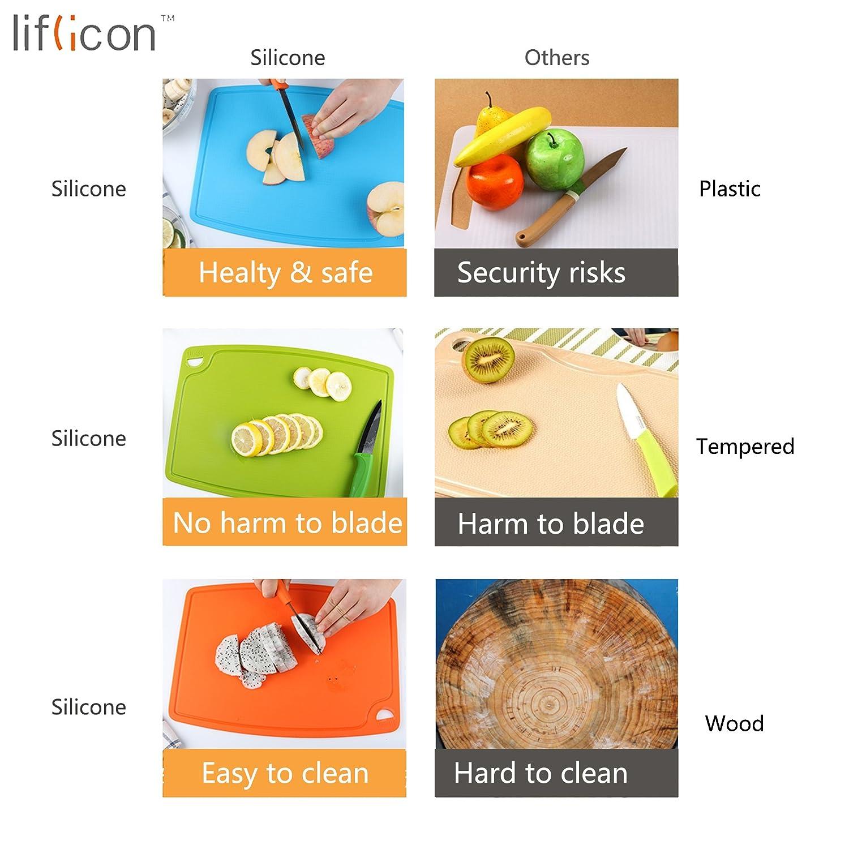 Tagliere in silicone di Liflicon Silicone puro alimentare Nonslip spessore e flessibile Antimicrobico resistente al calore non tagliente