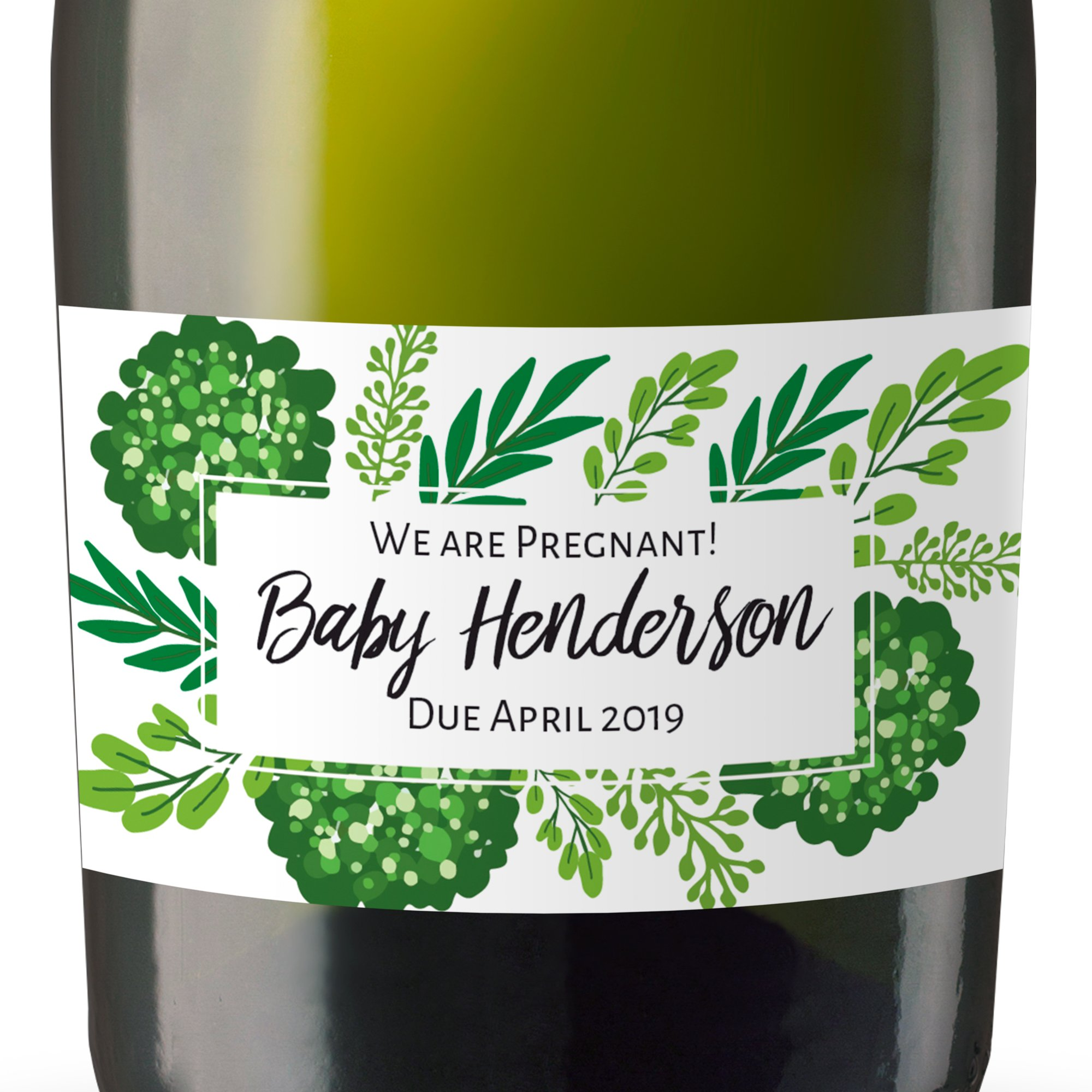 ''We Are Pregnant!'' Mini Champagne Wine Bottle Custom Label Sticker for Baby Shower Party, Pregnancy Announcement Gifts for Guests, Event Invitation - Unique Specialized Personalized Bespoke Set of 8