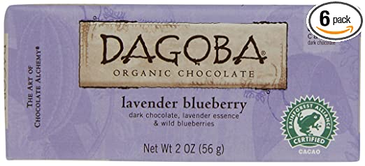 DAGOBA Organic Lavender Blueberry Chocolate Candy Bar, 59% Cacao Fair Trade Certified Gluten-Free Organic Dark Chocolate with Lavender and Blueberry, 2 Ounce Bar (Pack of 6)