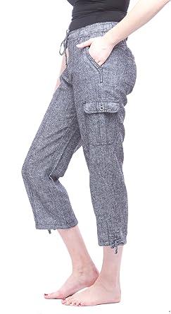 Amazon Com Missy Pantalones Capri De Lino Para Mujer Clothing